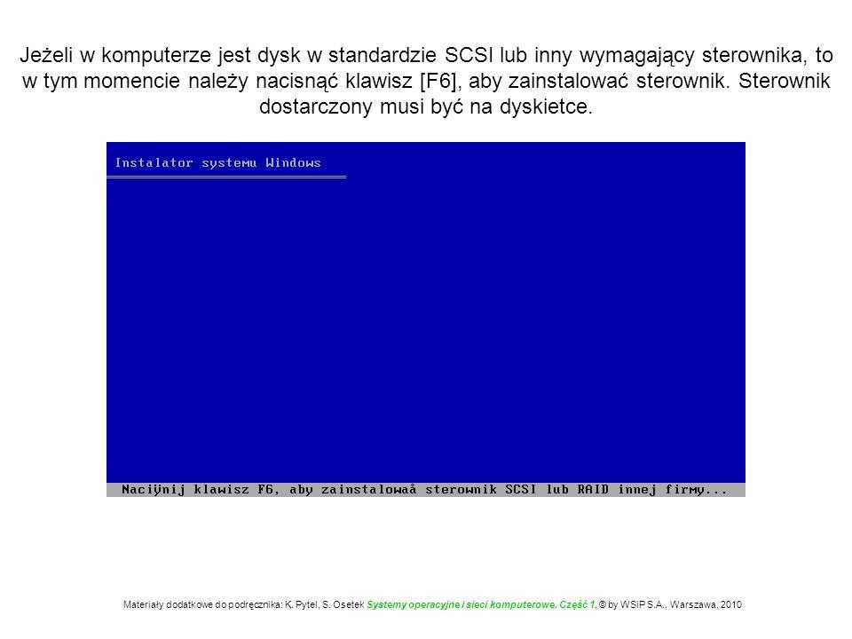 Jeżeli w komputerze jest dysk w standardzie SCSI lub inny wymagający sterownika, to w tym momencie należy nacisnąć klawisz [F6], aby zainstalować sterownik. Sterownik dostarczony musi być na dyskietce.